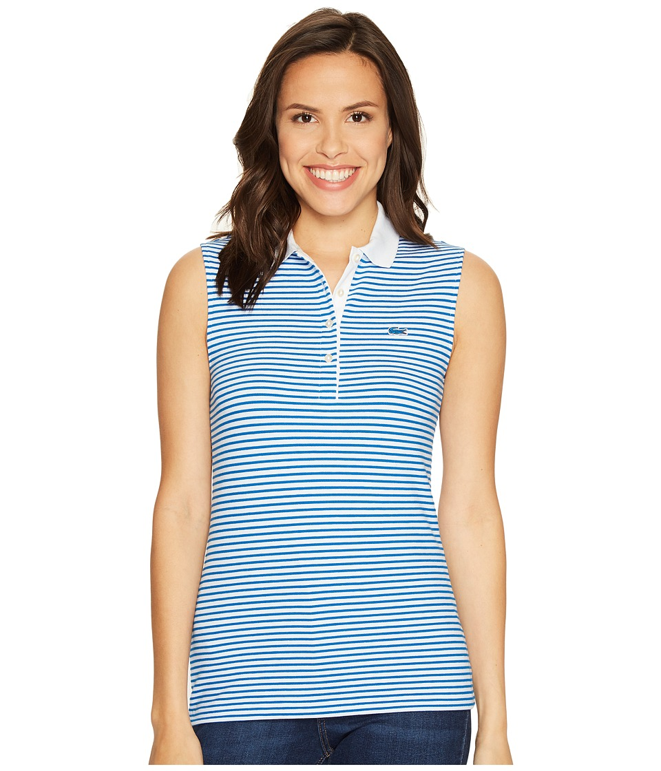 Lacoste - Sleeveless Stretch Petit Pique Striped Polo (White/Sapphire Blue) Women's Clothing