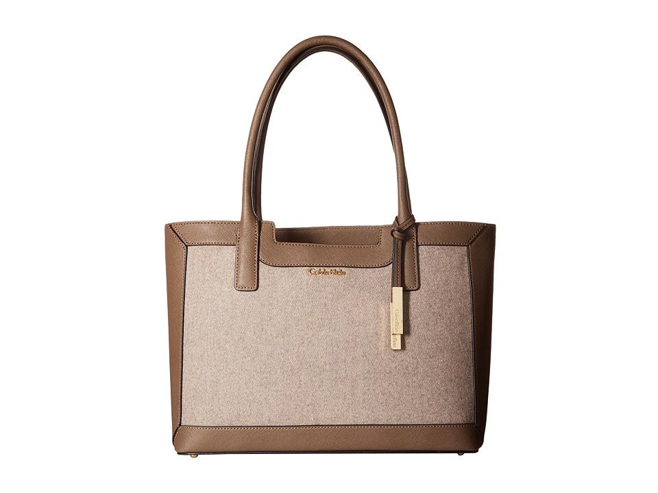 Calvin Klein - Saffiano Wool Tote Handbag (Dark Taupe/Dark Taupe Wool) Tote Handbags