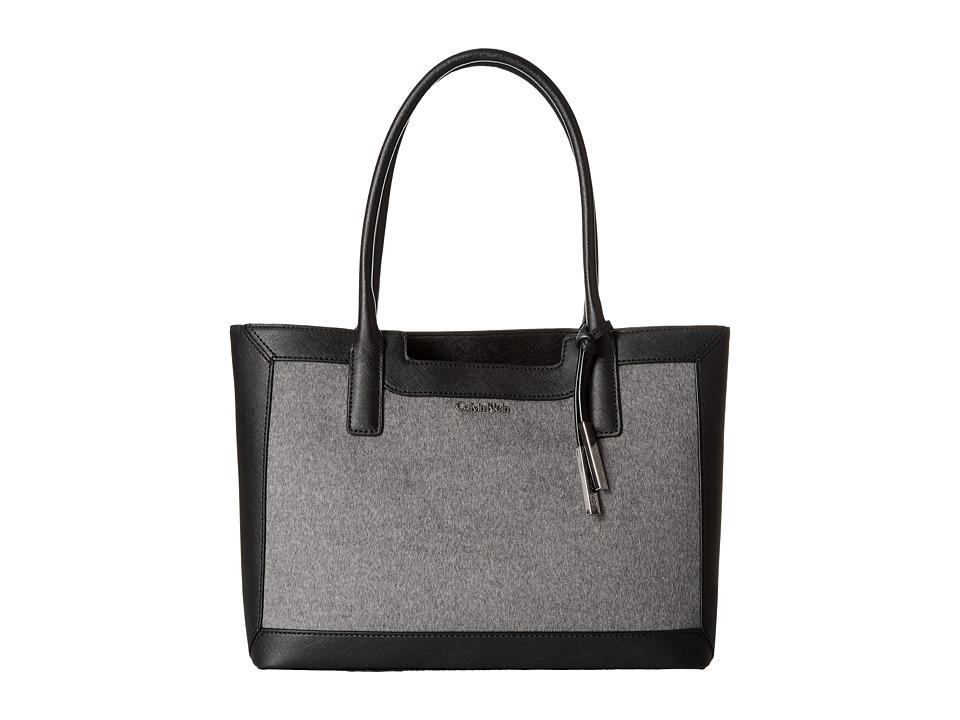 Calvin Klein - Key Item Saffiano Tote (Black/Grey Wool) Tote Handbags