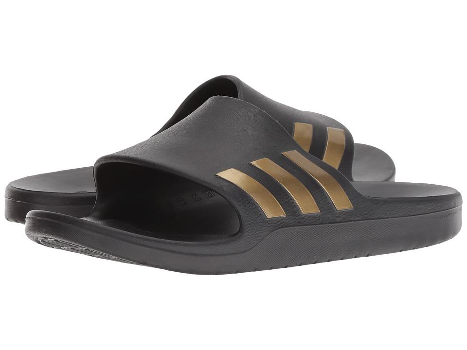 adidas Aqualette Cloudfoam (Core Black/Gold Metallic) Slide Shoes