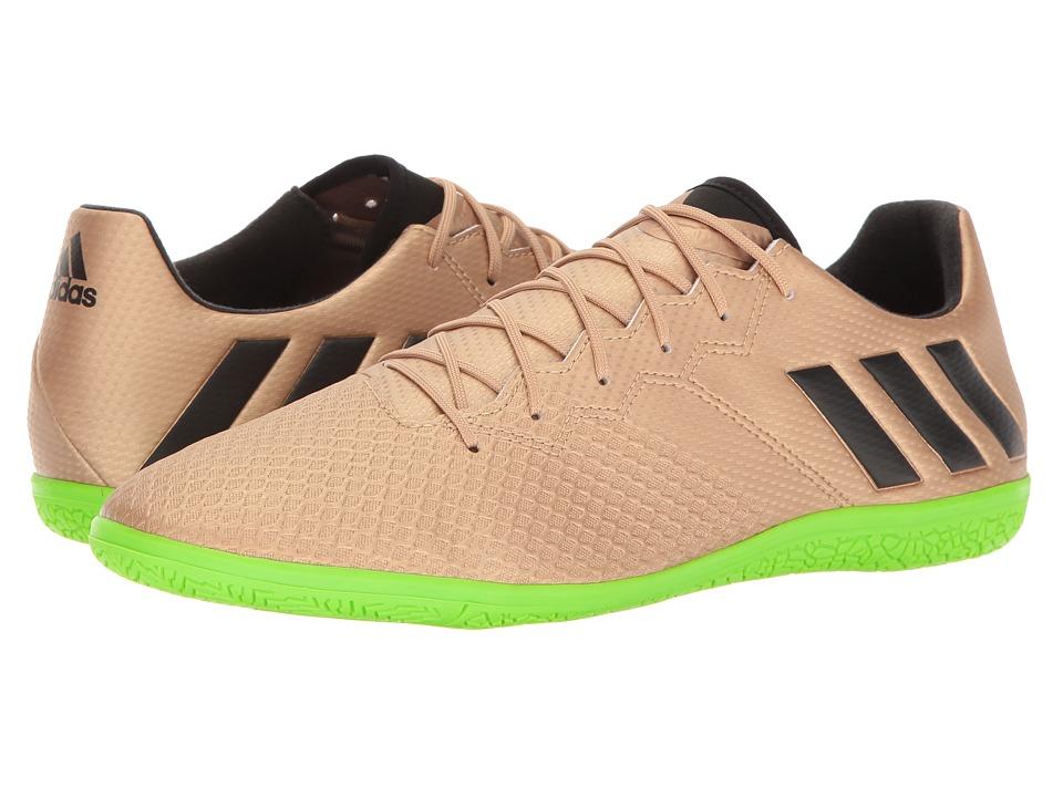 adidas - Messi 16.3 IN (Copper Metallic/Black/Solar Green) Men's Soccer Shoes