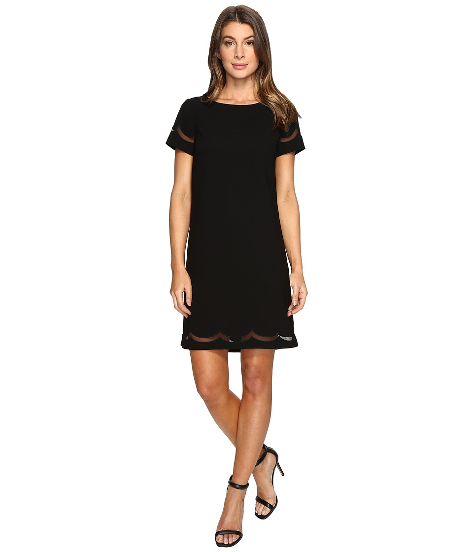 Tahari by ASL - Scalloped Mesh Shift Dress (Black) Women's Dress
