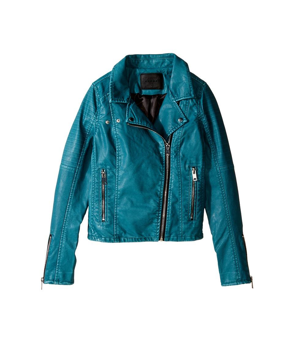 Blank NYC Kids - Vegan Leather Moto Jacket in Teal (Big Kids) (Teal) Girl's Coat