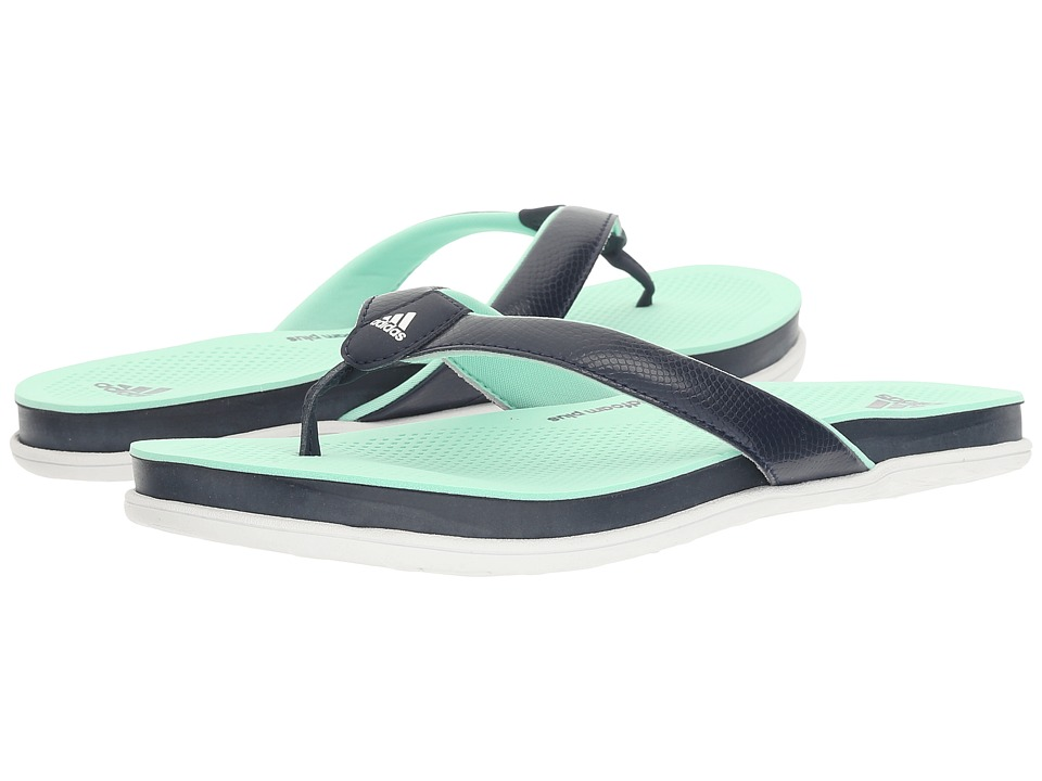 adidas - Cloudfoam Ultra Thong (Collegiate Navy/Footwear White/Easy Green) Women's Sandals
