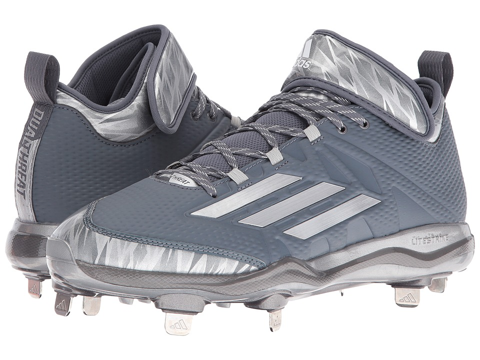 adidas - Dual Threat Baseball (Onix/Silver/White) Men's Shoes