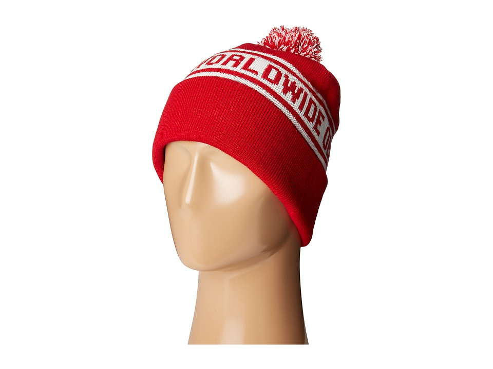 Obey - Worldwide Pom Beanie (Red/Cream) Beanies