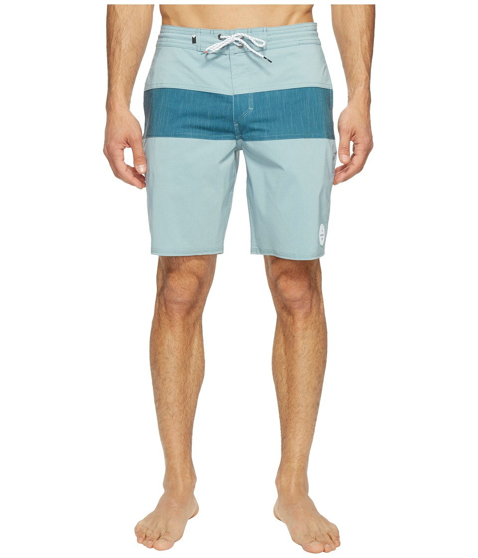 Quiksilver - Panel Blocked 19 Beach Shorts (Stone Blue) Men's Swimwear