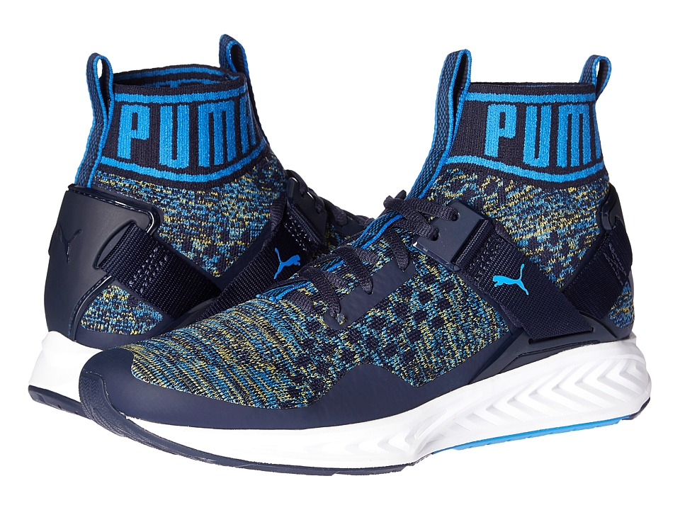 PUMA - Ignite evoKNIT (Peacoat/French Blue/Ultra Yellow) Men's Running Shoes