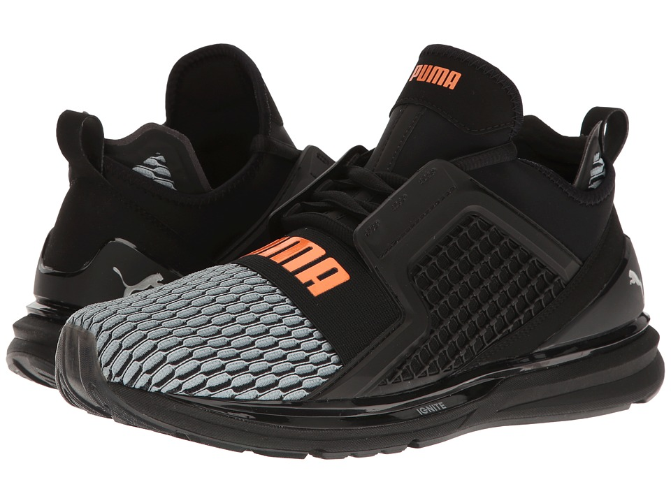 PUMA - Ignite Limitless Color Block (Puma Black/Quiet Shade/Orange Clown Fish) Men's Shoes