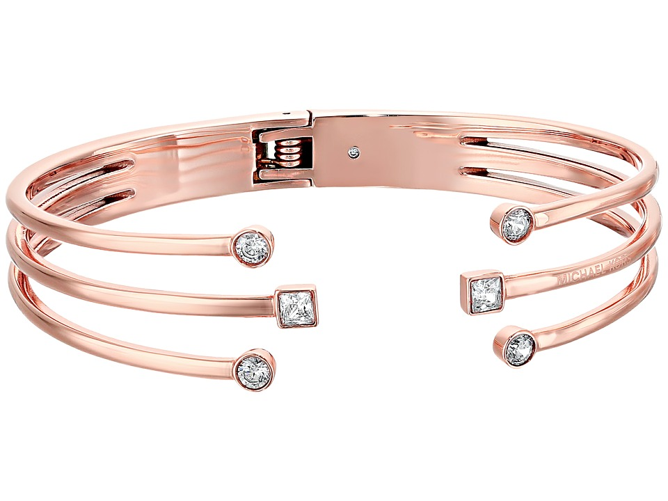 Michael Kors - Mixed Shape CZ Open Cuff Bracelet with Hinge-Back (Rose Gold) Bracelet