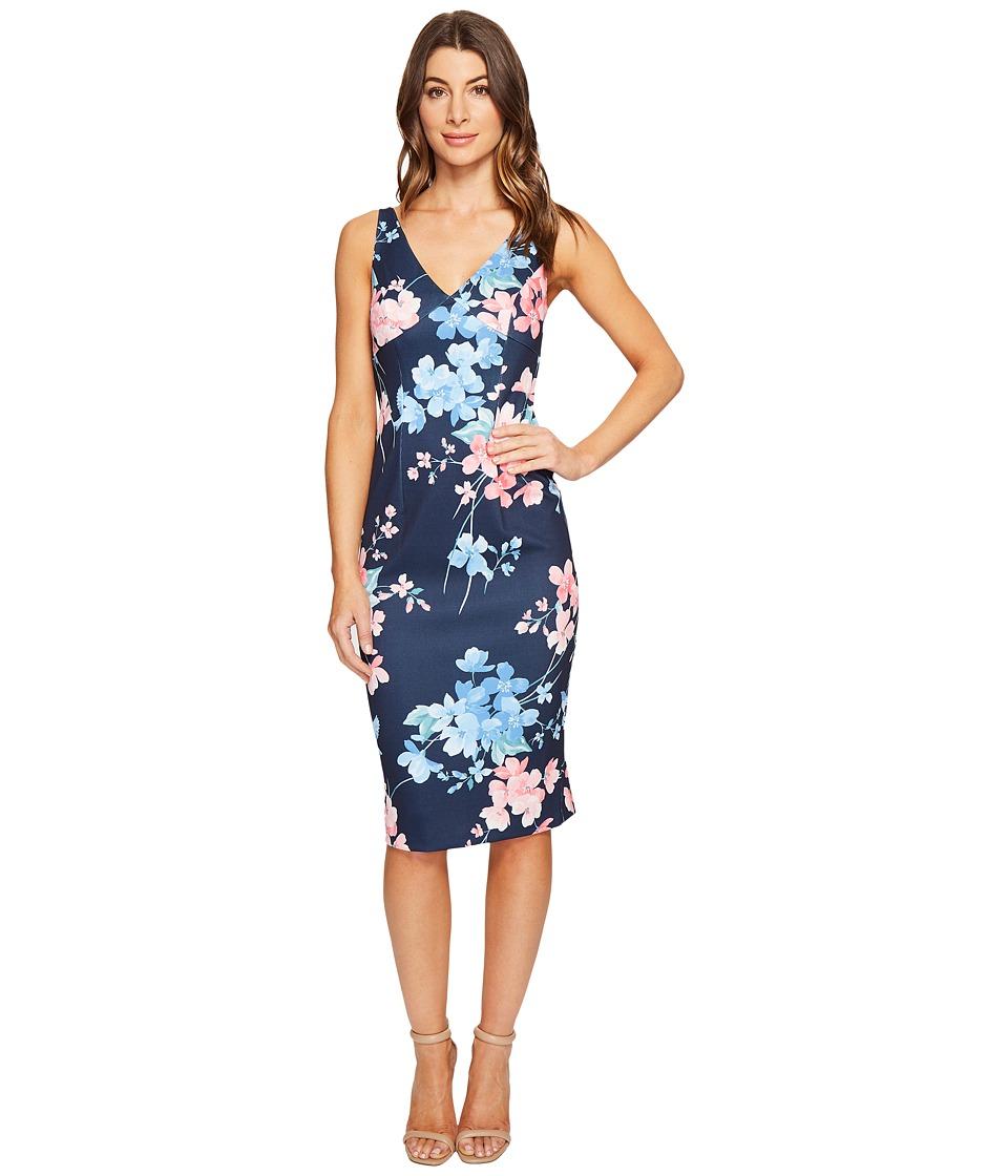 Donna Morgan Sleeveless Printed Pique Bodycon Marine Navy-Papaya Horizon Blue Multi Dress