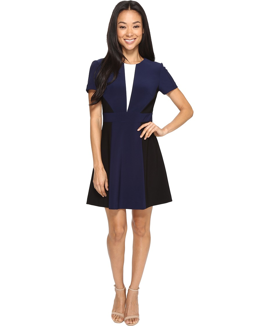 Tahari by ASL Petite - Petite Scuba Color Block A-Line Dress (Navy/Black/Ivory) Women's Dress