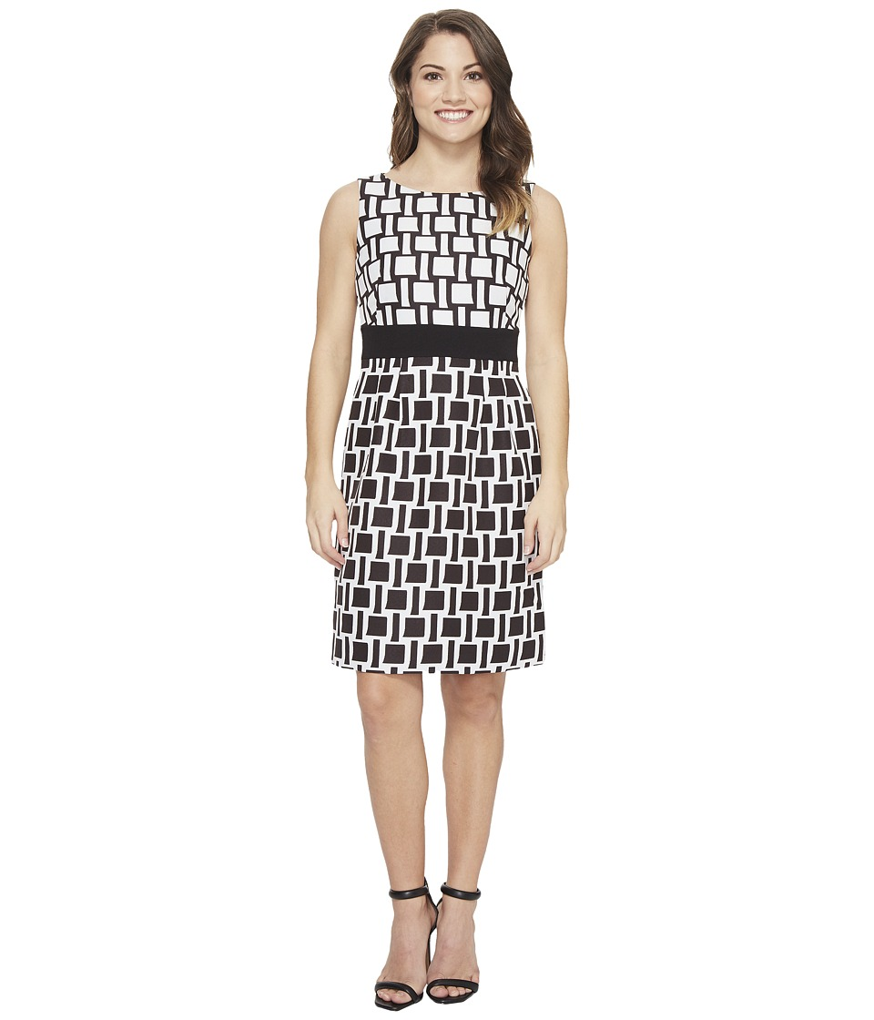 Tahari by ASL Petite - Petite Printed Jacquard Sheath Dress (Ivory White/Black) Women's Dress