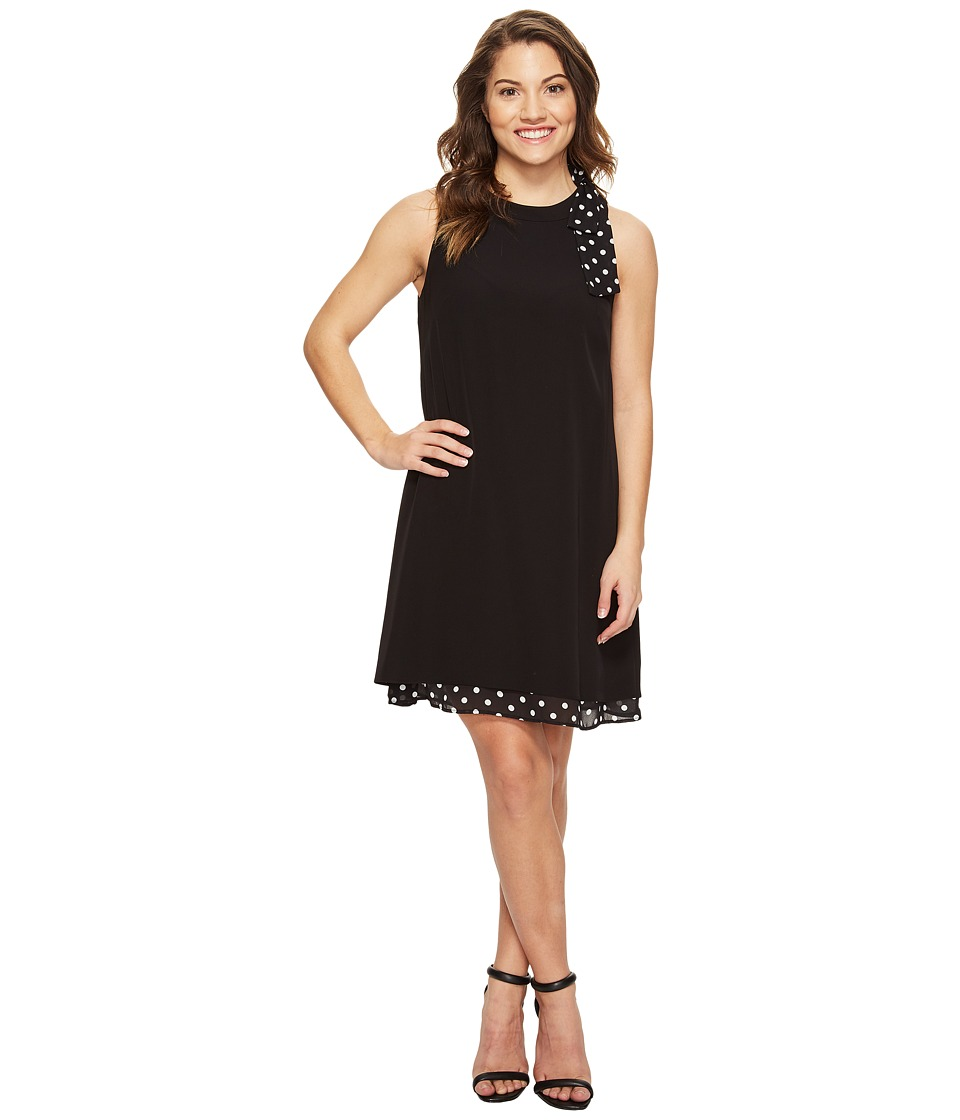 Tahari by ASL Petite - Petite Bow Shoulder Polka Dot Shift Dress (Black/White) Women's Dress