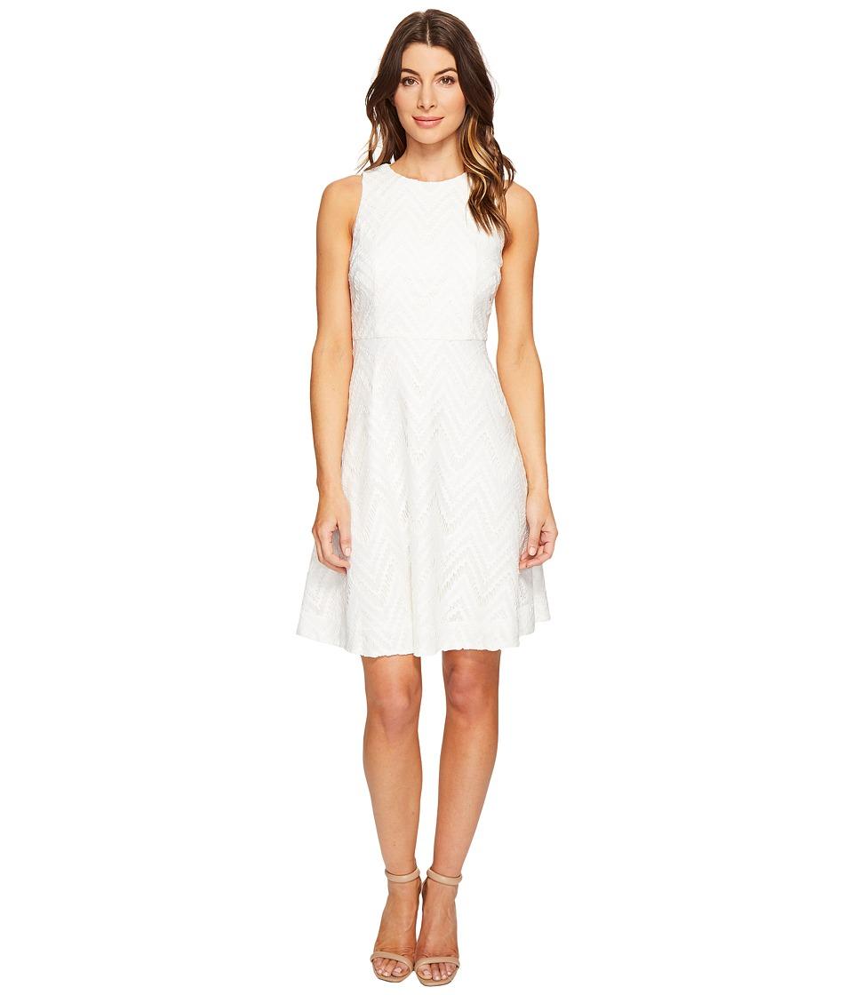 Donna Morgan Sleeveless Chevron Lace Fit and Flare with Full Skirt (Whitecap Grey/Hydrangea/Navy Multi) Women