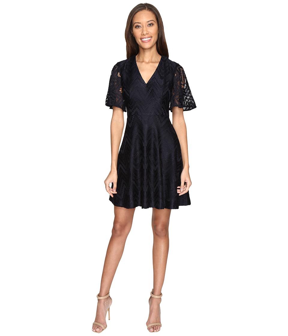 Donna Morgan - V-Neck Flutter Sleeve Novelty Zigzag Lace (Marine Navy) Women's Dress