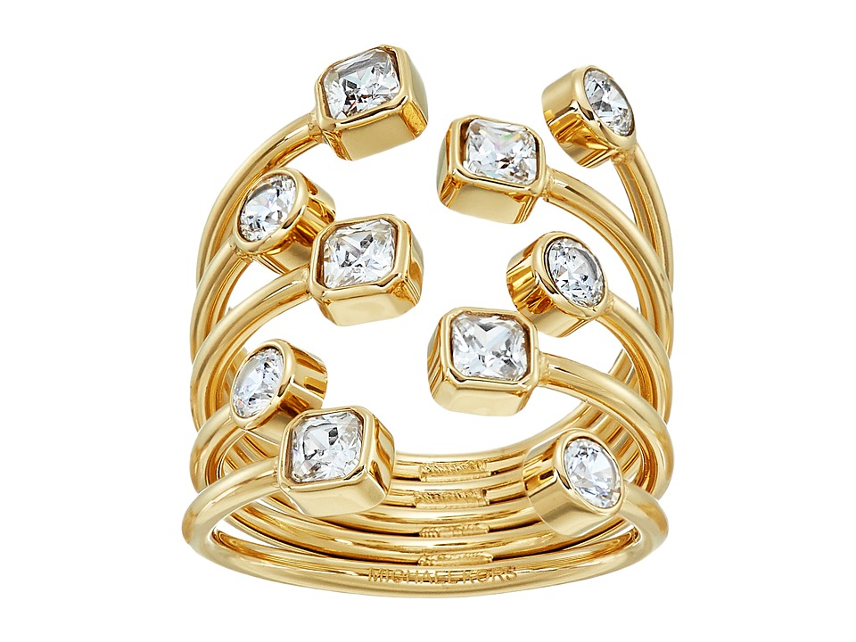 Michael Kors - Mixed Shape CZ Set Stone Statement Open Statement Ring (Gold) Ring