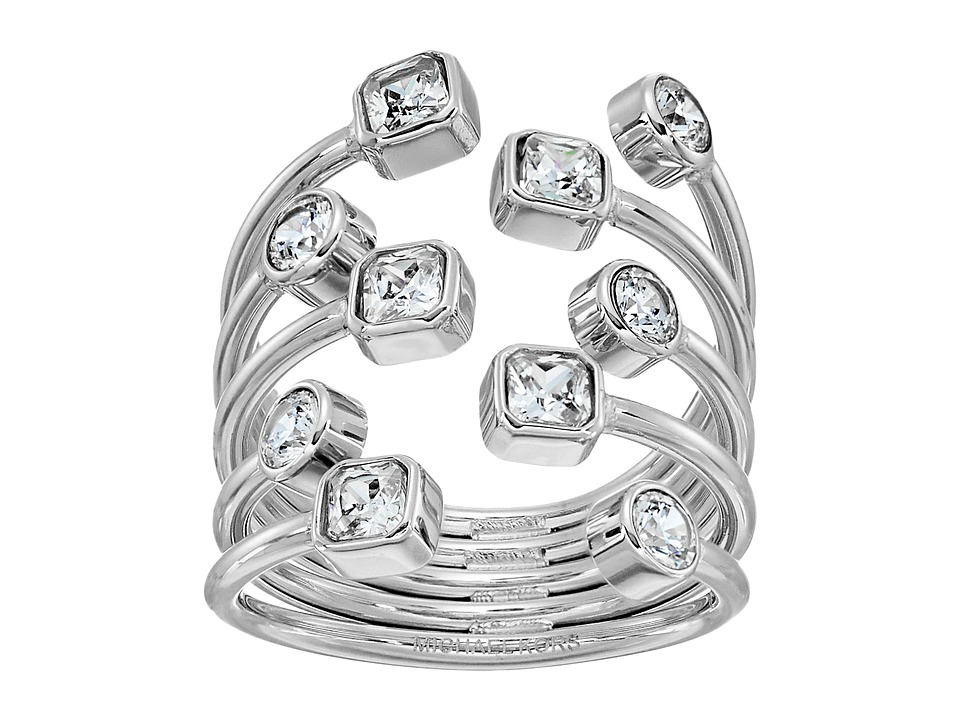Michael Kors - Mixed Shape CZ Set Stone Statement Open Statement Ring (Silver) Ring