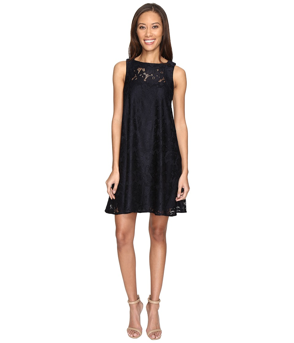Donna Morgan - Sleeveless Tent Lace Dress (Marine Navy) Women's Dress