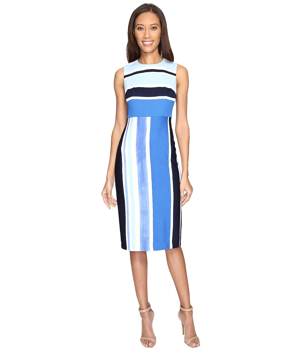 Donna Morgan - Sleeveless Pique Fitted Sheath (Marine Navy Blue/Ice Multi) Women's Dress