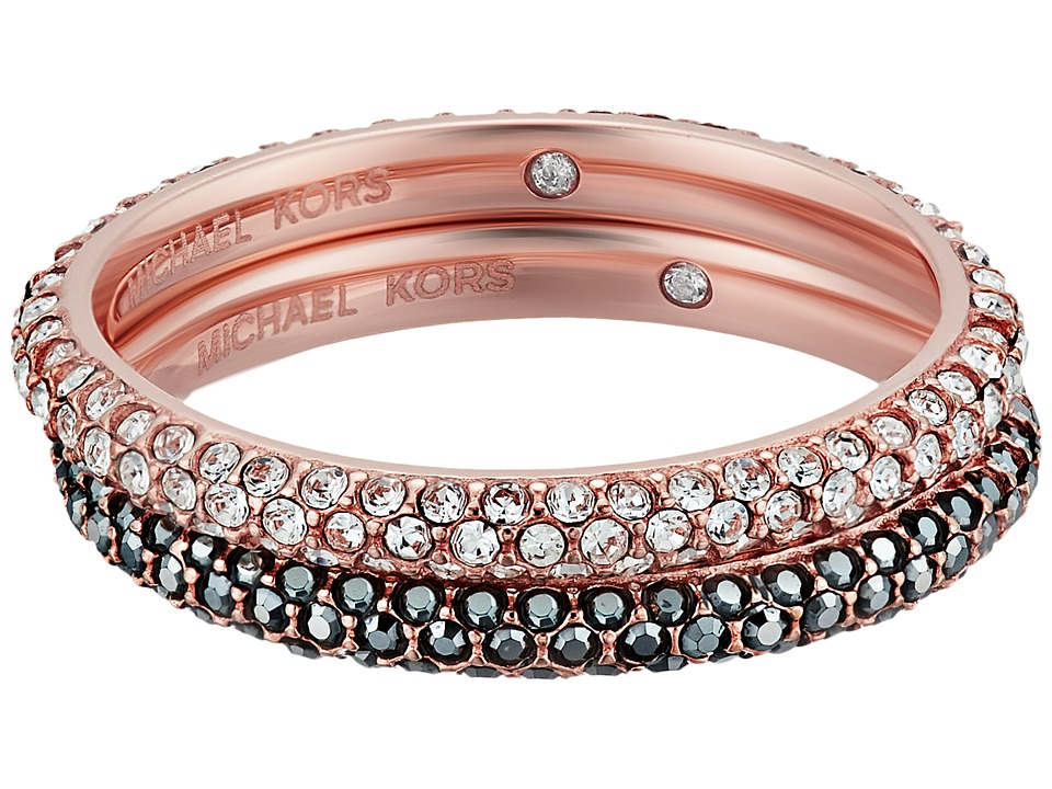 Michael Kors - Color Rush Hematite Pav Stacking Rings Set (Rose Gold) Ring
