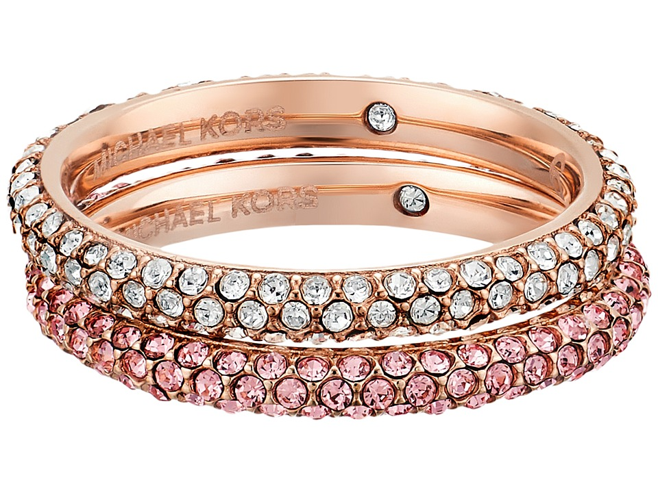 Michael Kors - Color Rush Light Rose Pav Stacking Rings Set (Rose Gold) Ring