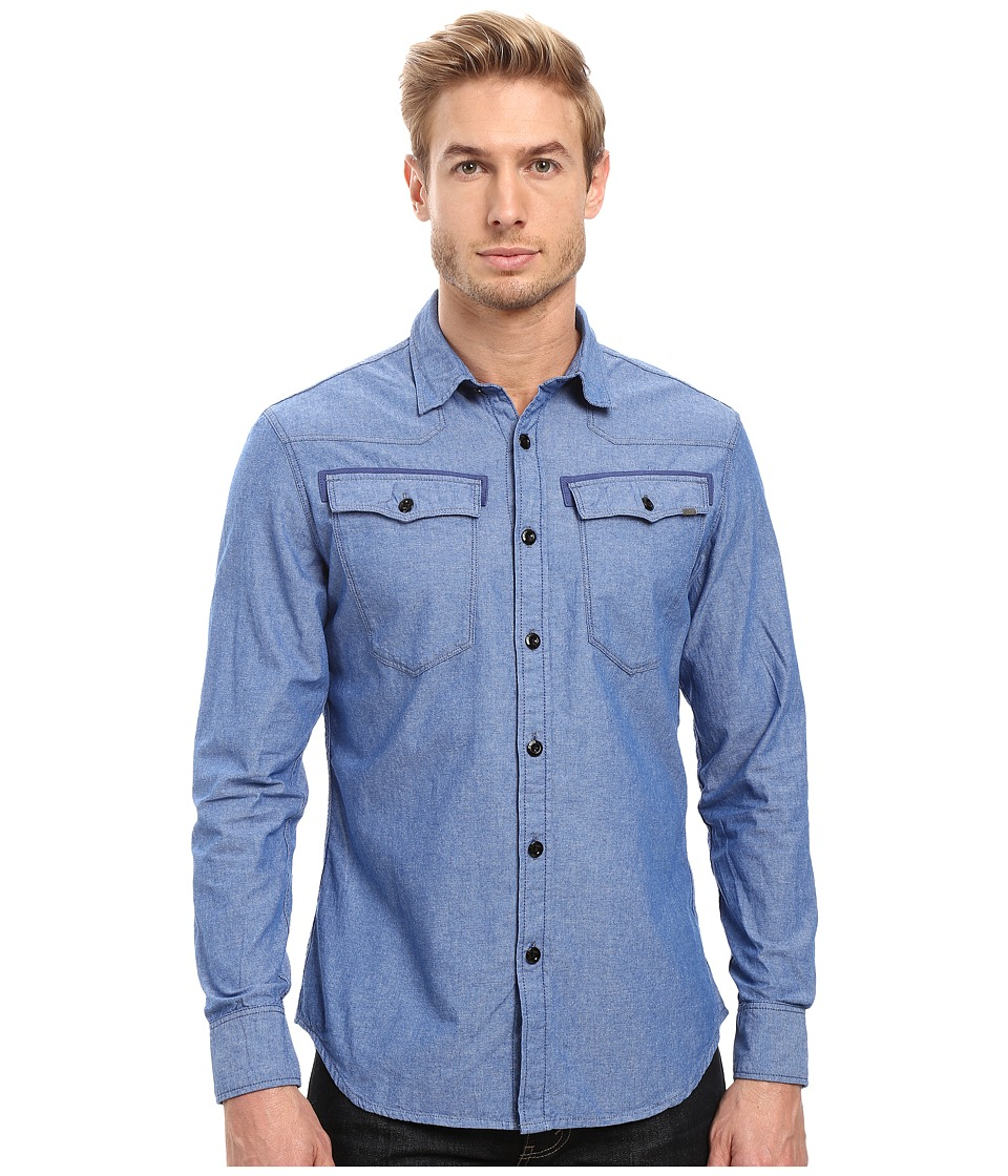 G-Star - 3301 Shirt Long Sleeve (Imperial Blue/White) Men's Clothing