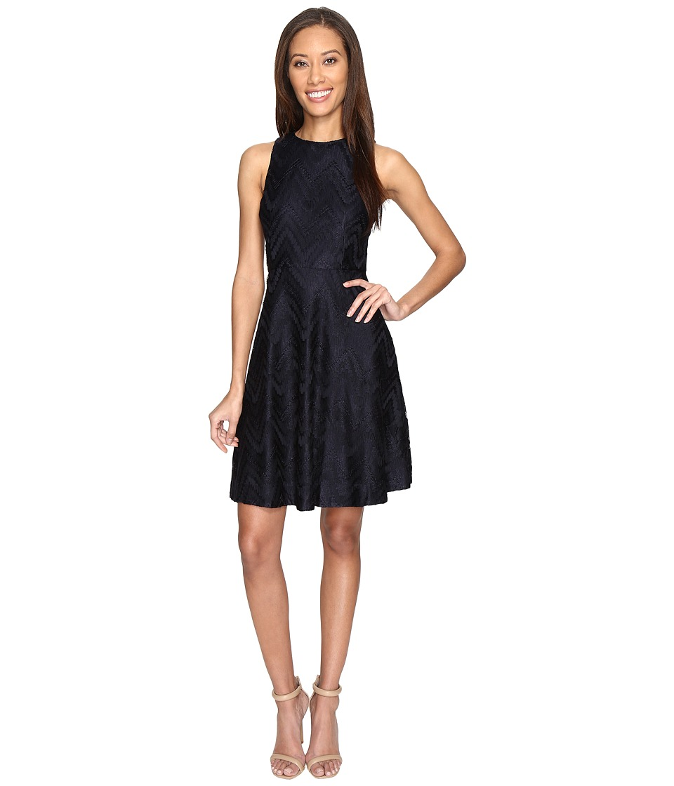 Donna Morgan Sleeveless Chevron Lace Fit and Flare with Full Skirt (Marine Navy) Women