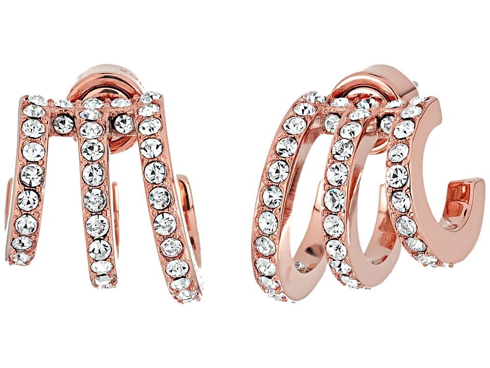 Michael Kors - Modern Baguette Pav Open Work Huggie Earrings (Rose Gold) Earring