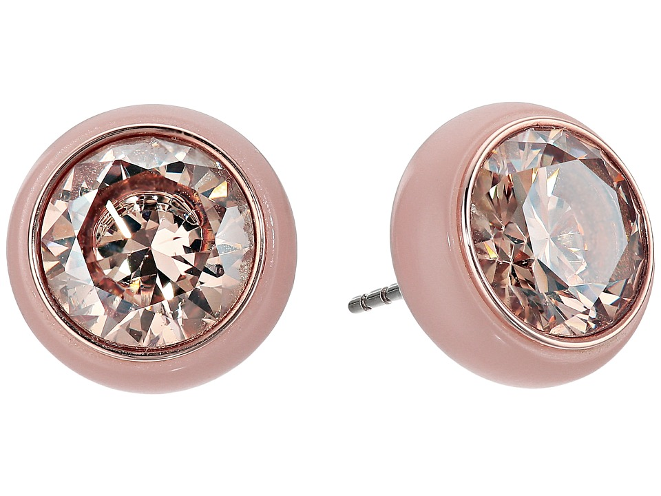 Michael Kors - Blush Acetate and Pav Crystal Round Stud Earrings (Rose Gold) Earring