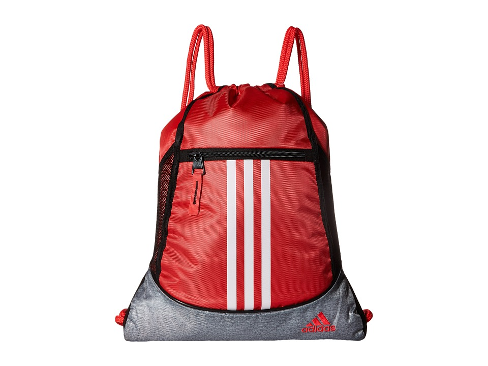adidas - Alliance II Sackpack (Shock Red/Heather Clear Grey/White) Bags