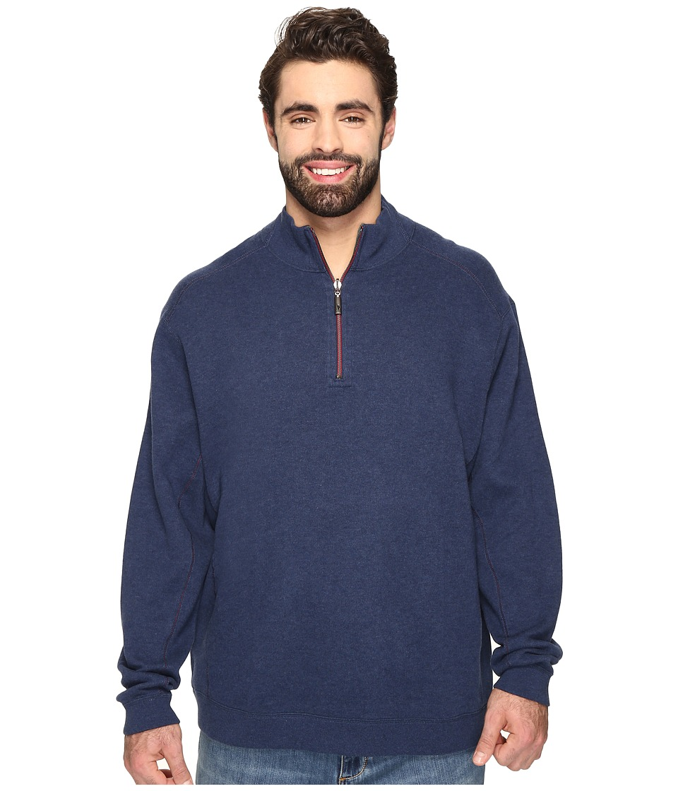 Tommy Bahama Big & Tall - Big Tall New Flip Side Pro Reversible 1/2 Zip (Coastline Heather) Men's Clothing