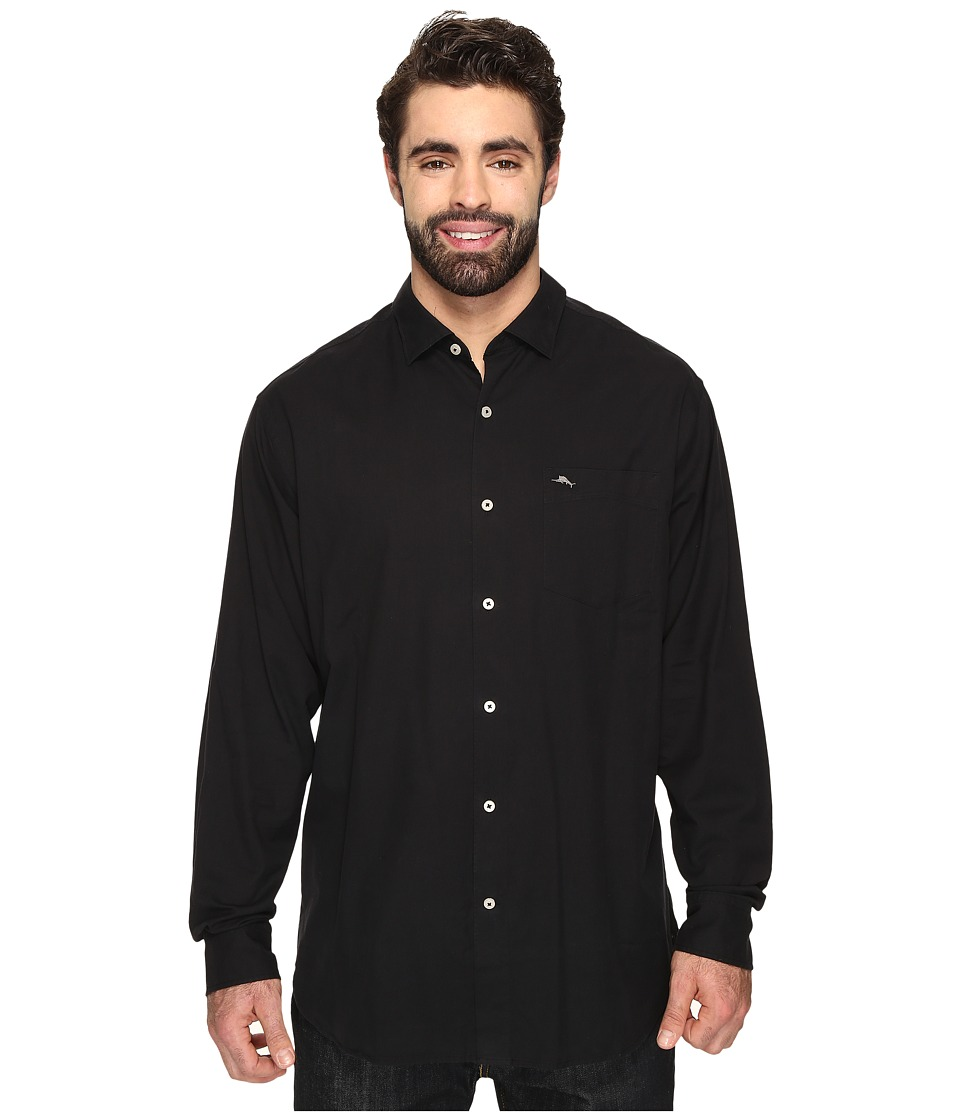 Tommy Bahama Big & Tall - Big Tall Island Twill Long Sleeve (Black) Men's Clothing
