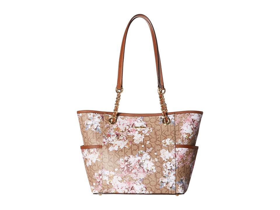 Calvin Klein - Monogram Chain Tote (Khaki Brown/Luggage Floral) Tote Handbags