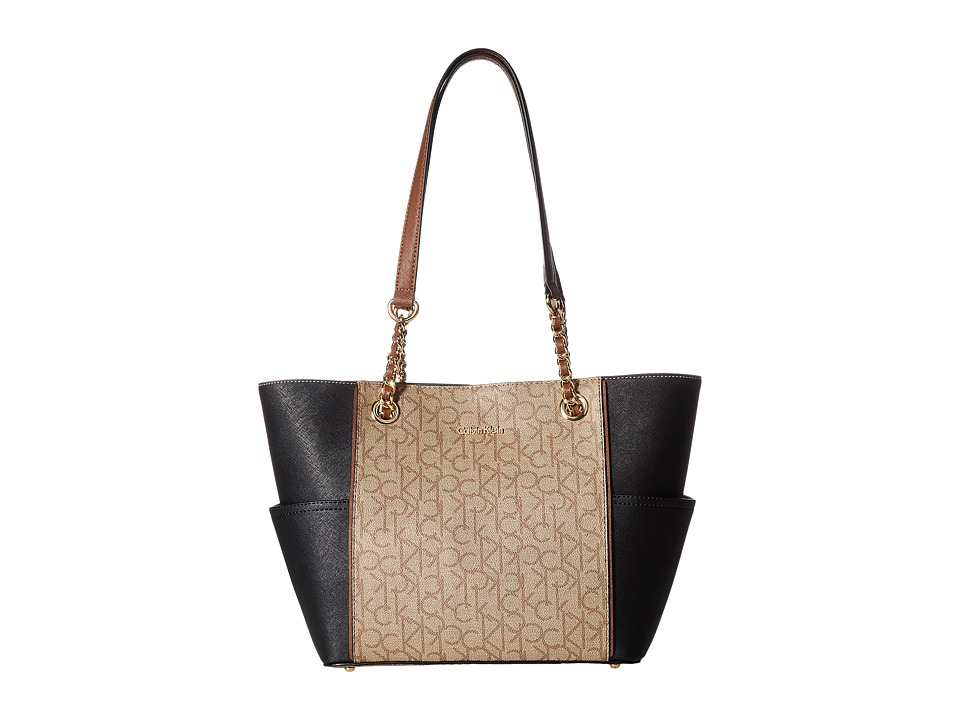 Calvin Klein - Monogram Chain Tote (Khaki Brown Combo) Tote Handbags