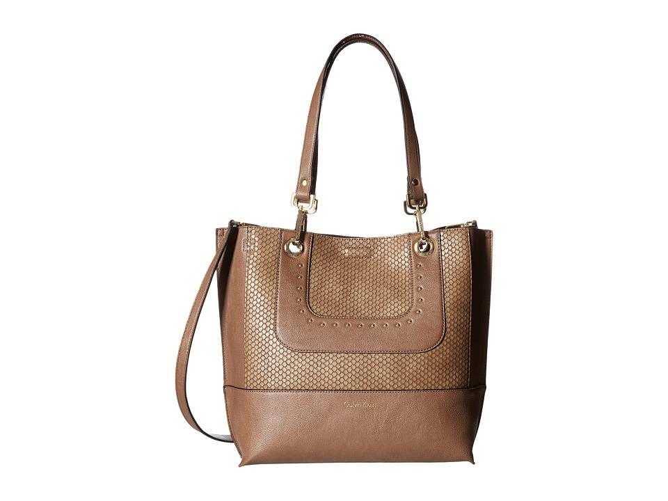 Calvin Klein - Sonoma Jetlink/Snake Tote (Dark Taupe/Snake Stud) Tote Handbags