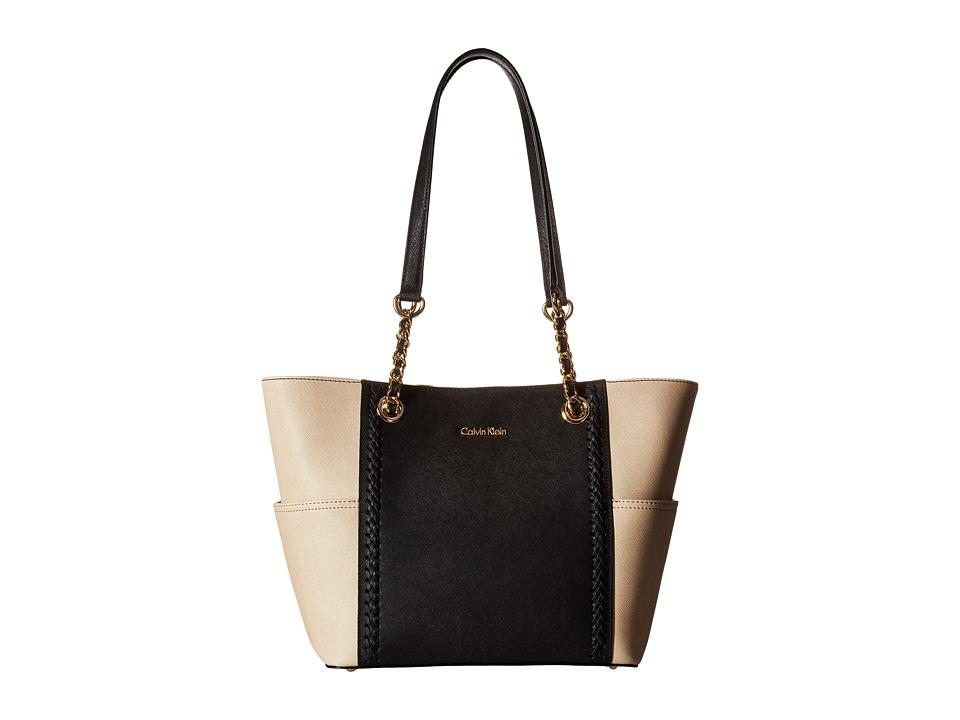 Calvin Klein - Key Item Saffiano Tote (Black/Wheat Braid) Tote Handbags