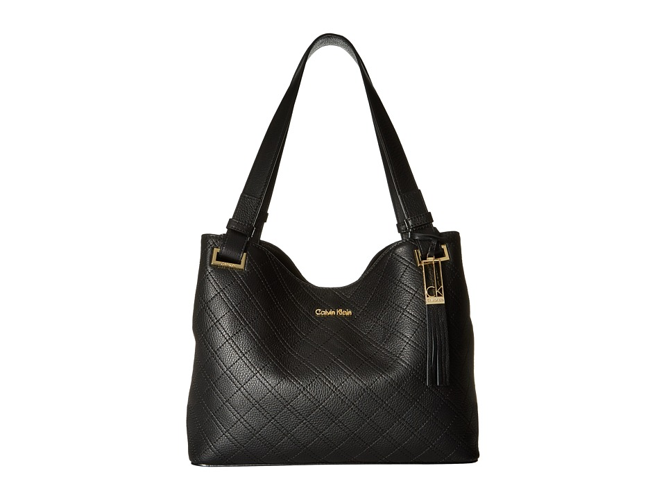 Calvin Klein - Permanent Pebble Shopper (Black/Gold) Handbags