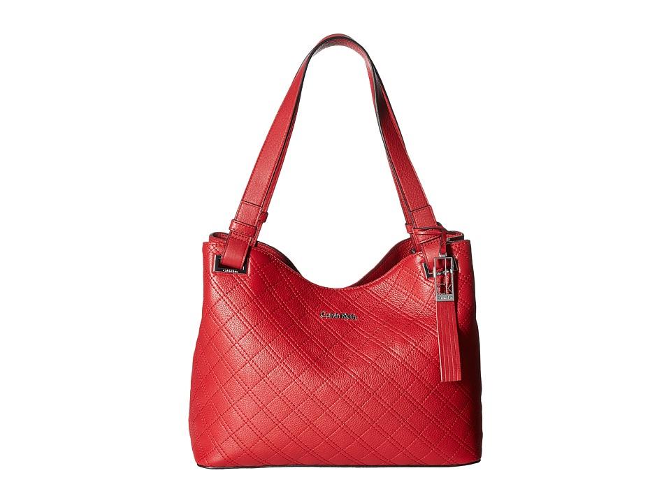 Calvin Klein - Permanent Pebble Shopper (Red) Handbags