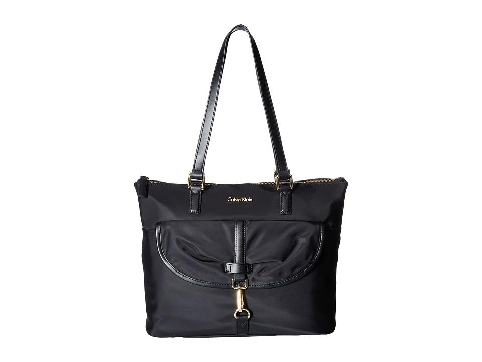 Calvin Klein - Belfast Dressy Nylon Tote (Black/Gold) Tote Handbags