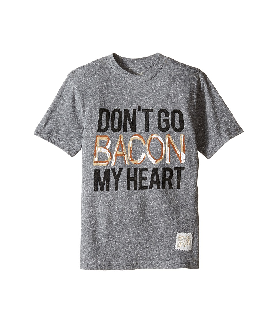 The Original Retro Brand Kids Don't Go Bacon My Heart Short Sleeve Tri-Blend Tee (Big Kids) (Streaky Grey) Boy's T Shirt