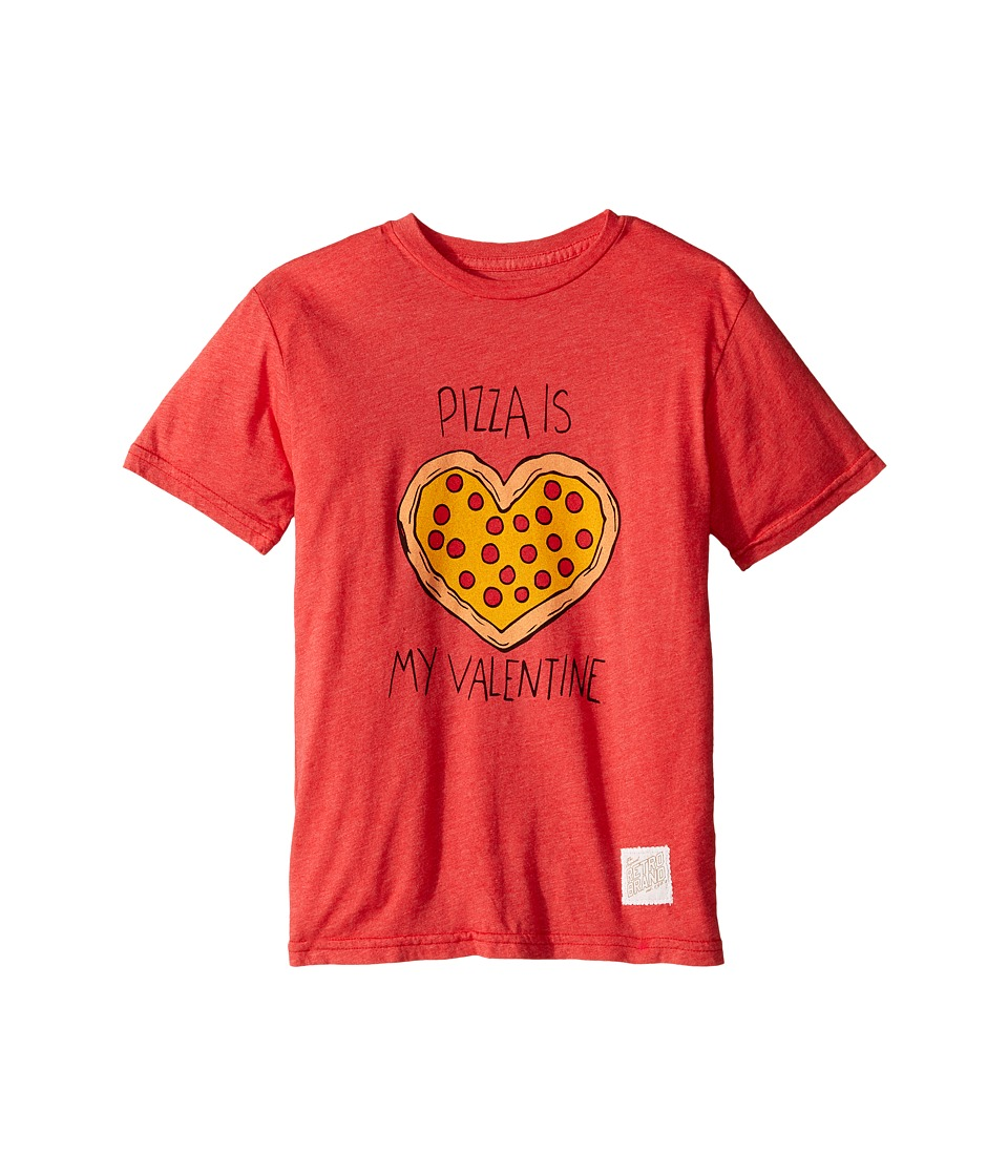 The Original Retro Brand Kids - Pizza Is My Valentine Short Sleeve Heathered Tee (Big Kids) (Heather Red) Boy's T Shirt
