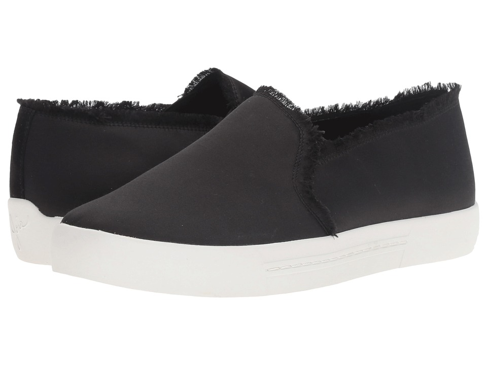 Joie - Huxley (Black Frayed Edge Satin) Women's Slip on Shoes