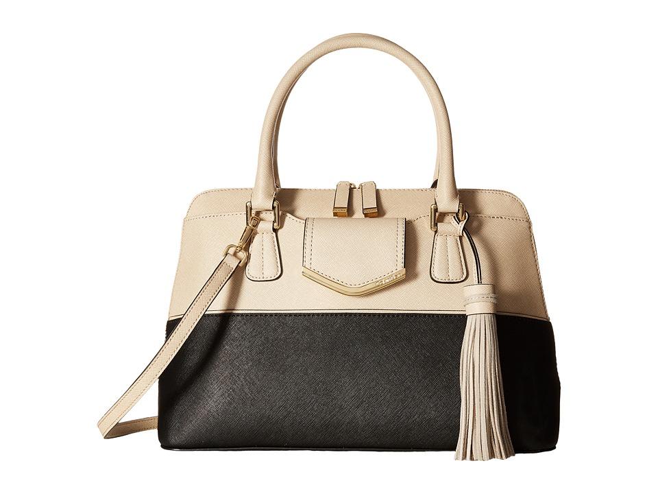 Calvin Klein - On My Corner Saffiano Satchel (Black/Wheat) Satchel Handbags