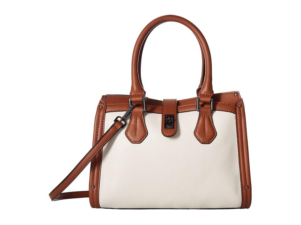 Calvin Klein - Laiken Pebble Satchel (White/Luggage) Satchel Handbags