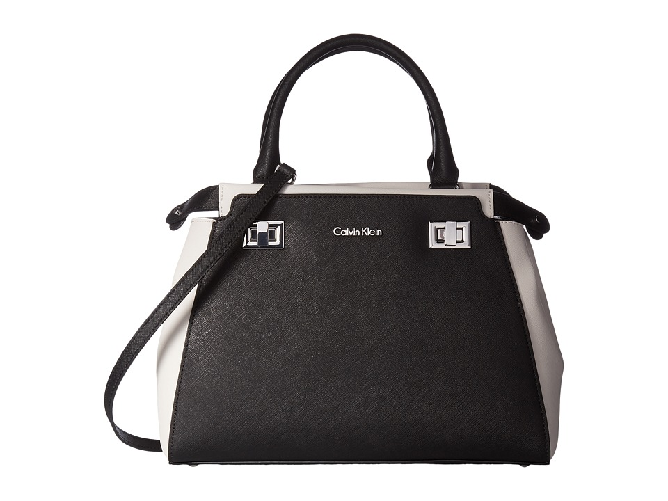 Calvin Klein - Toya Saffiano Satchel (Black/White) Satchel Handbags
