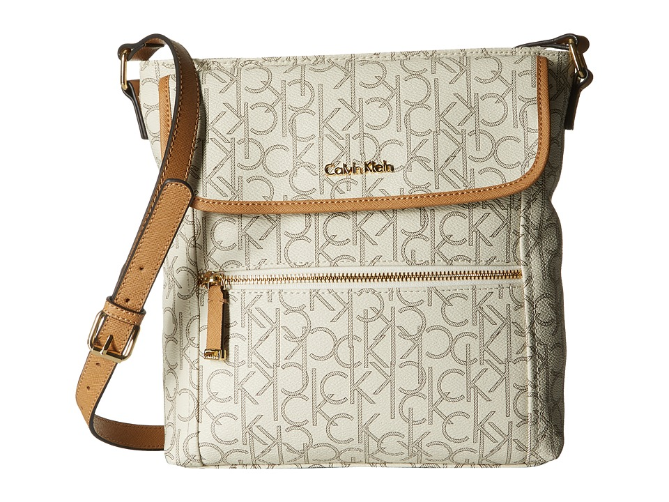 Calvin Klein - Hudson Monogram Crossbody (Almond/Khaki/Cashew) Cross Body Handbags