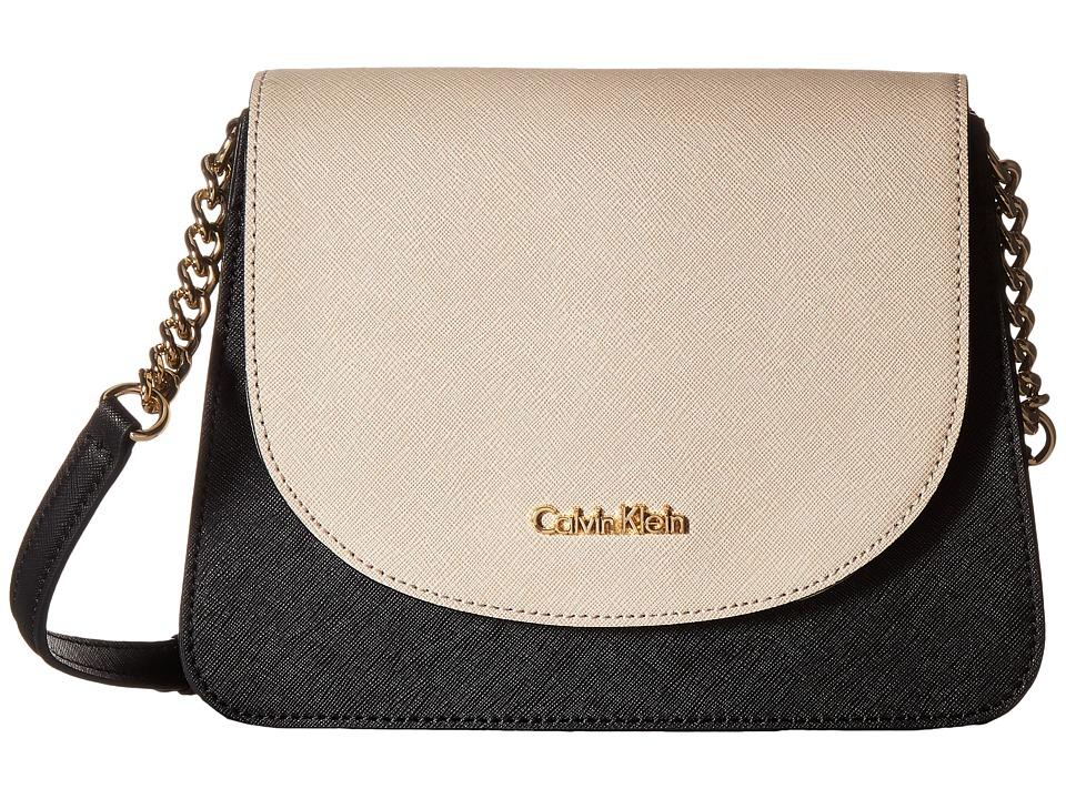 Calvin Klein - On My Corner Saffiano Crossbody (Black/Wheat) Cross Body Handbags