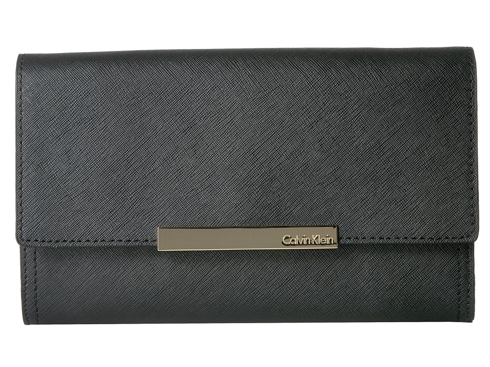 Calvin Klein - Evening Saffiano Clutch (Black/Gold) Clutch Handbags