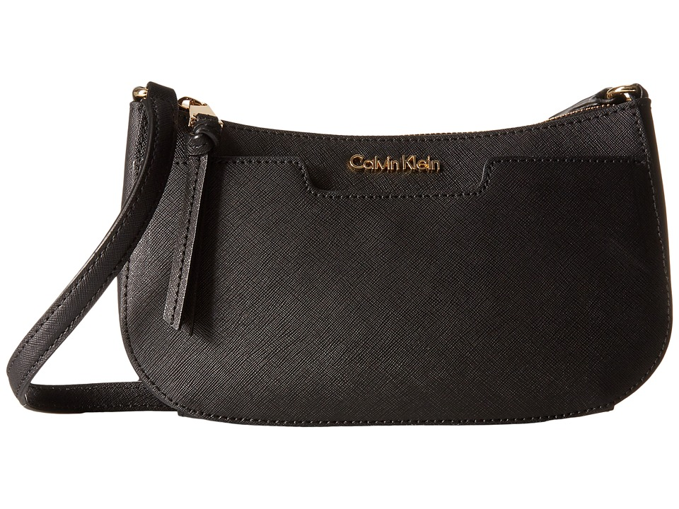 Calvin Klein - On My Corner Saffiano Demi (Black/Gold) Handbags